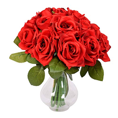 Furnily Rose Artificial Flowers 2 Bouquet Bridal Bouquets for Wedding Banquet Home Decoration  Valentine's Day Gift (Red,No Vase)