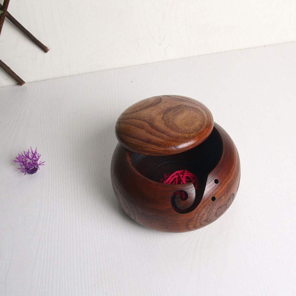 Porta ciotola in legno con foro ciotola per lavoro a maglia e uncinetto INFILM con coperchio 16 * 7 cm Come mostrato