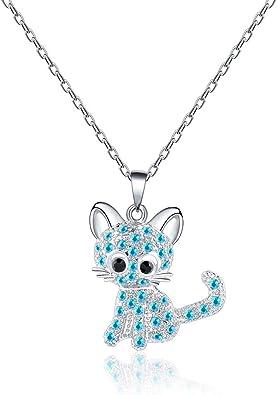 VU100 - Collar de Plata con Colgante de Gato para Mujer y niña ...