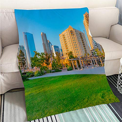 BEICICI Art Design Photos Cool Quilt San Diego Downtown Ruacco Park and Hotels P Fun Design All-Season Blanket Bed or Couch ()