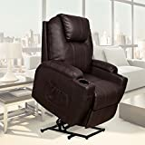 MAGIC UNION Power Lift Massage Recliner Heated Vibrating Chair with 2 Remote Controls PU Leather Reclining Mechanism