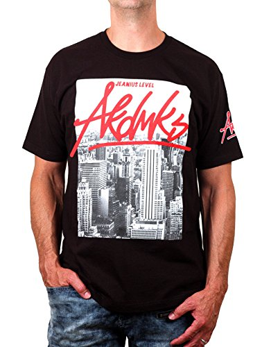 Akademiks Men's Cotton Jeanius Level NYC Tee With Graffiti Logo
