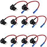 E Support 12V 24V Standard Add A Circuit Fuse Tap Piggy Back Blade Holder Plug Socket Car Pack of 10