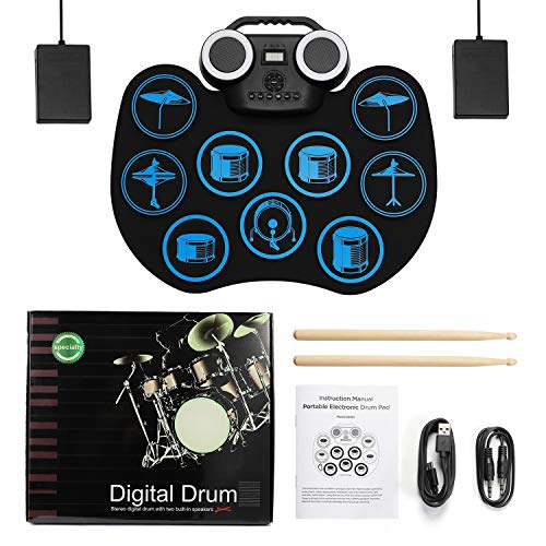 Electronic Drum Pad Multicolor LED Digital Display Hand Roll-Up Drum Kit 9 Silicon Durm Pad Built-In Stereo Speaker Bluetooth, MIDI, for Kids Beginners - Uverbon