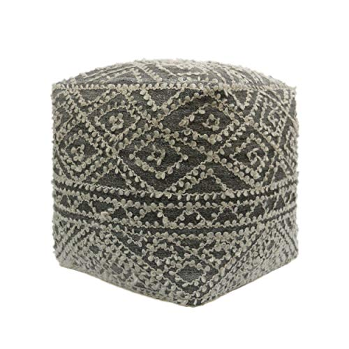 Great Deal Furniture 307626 Sylvia Cube Pouf, Boho, Blue and Gray Wool and Viscose,