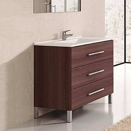 Ducha.es Conjunto 2 Piezas INDUS-Mueble de baño y encimera cerámica (60cm, Blanco Brillo)