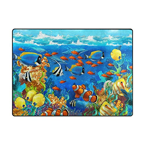 (My Little Nest Beautiful Sea World Coral Reef and Fishes Kids Play Mat Baby Crawling Mat Carpet Non Slip Soft Educational Game Rug for Nursery Bedroom Classroom 4'10