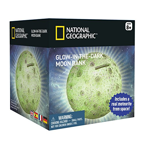 Traditional Piggy Bank - National Geographic Glowing Moon Money Bank for Kids - Large Coin Slot and Easy-to-Remove Stopper - An Educational Science and Space Themed Twist on the Traditional Piggy Bank