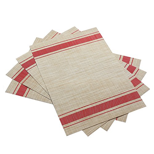 DACHUI Placemats, Heat-resistant Placemats Stain Resistant Anti-skid Washable PVC Table Mats Woven Vinyl Placemats, Set of 4 (Red) by DACHUI (Image #2)