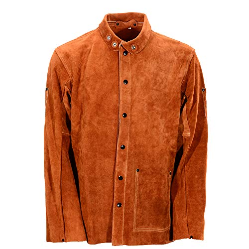 QeeLink Leather Welding Work Jacket Flame-Resistant Heavy Duty Split Cowhide Leather (Large) Brown by QeeLink (Image #2)