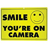 New SMILE YOU'RE ON CAMERA Yellow Business Security Sign CCTV Video Surveillance – ONE SIGN