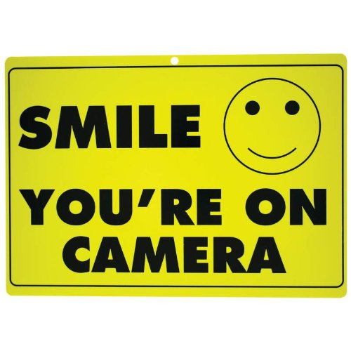 1 X New SMILE YOU'RE ON CAMERA Yellow Business Security Sign CCTV Video Surveillance - ONE SIGN