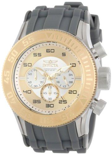 Invicta Men's 14975 Pro Diver Chronograph Silver Gold Dial Grey Silicone Watch