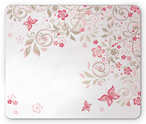 Pink Cocoa Dot (Floral Mouse Pad by Lunarable, Curly Branches Wildflowers Butterflies Dots Romantic Bridal Wedding Theme, Standard Size Rectangle Non-Slip Rubber Mousepad, Pink Cocoa Light Pink)