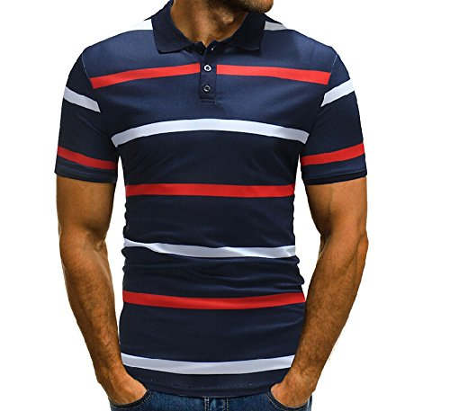 Allshope Men's Fashion Polo Shirts Casual Striped Sports T-Shirt (Navy Blue, (Fashion Polo T-shirt)