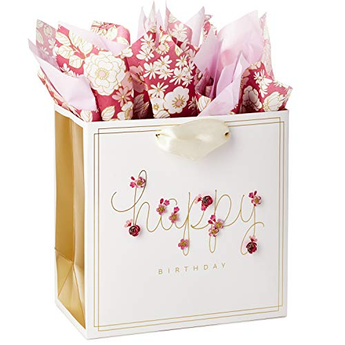 Hallmark Signature Medium Birthday Gift Bag with Tissue Paper (Pink Flowers) (Floral Medium Gift Bag)