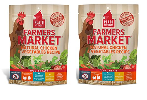 PLATO Dog Treats -Farmers Market Chicken and Vegetables Real Strips- 14 oz (2 ()