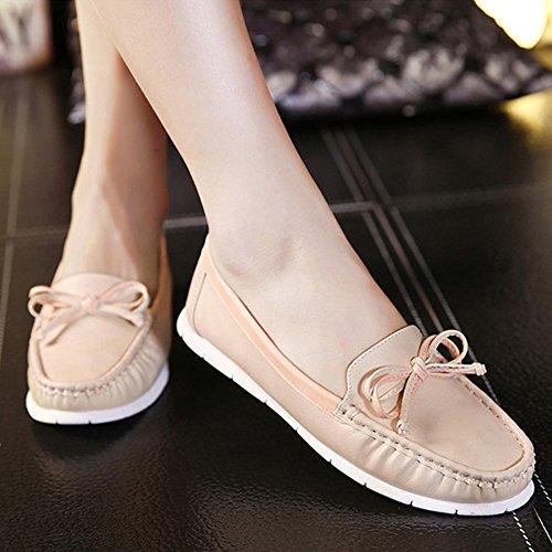 Minetom Mujer Verano Casual Cabeza Redonda Arco Plano Zapatos De Los Guisantes Salón Con Dedos Antideslizante Shoes Pisos Albaricoque