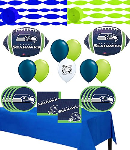 Seattle Seahawks Party and Balloon Kit for 24 - Nfl Fan Party Kit Banner