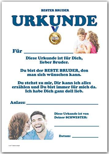Urkunde - Bester Bruder – Danke und Lob für Bruder von Schwester ...