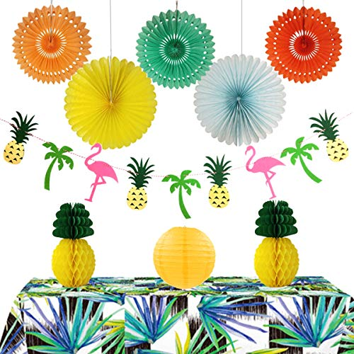 InBy Hawaiian Luau Party Decoration Tropical Supplies Kit - Hanging Paper Fans, Tissue Pineapple Honeycomb Ball, Flamingos Pineapple Tree Banner, Latern - Yellow, Orange, Green, Blue -