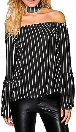 Womens Ladies Off Shoulder Stripe Cuffed Long Sleeve Swing