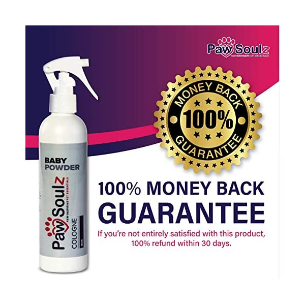 Paw Soulz Premium Dog Cologne Baby Powder - Long Lasting Dog Deodoriser Spray - Contains Aloe - Replenish Skin & Coat - Hypoallergenic - Natural Conditioner Perfume for Dogs & Puppies 5