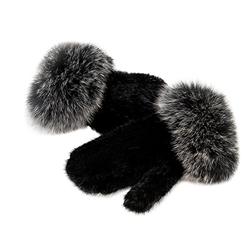 Women's Knitted Real Mink Fur Gloves with Fox Fur Fashion Winter Warm Gloves (Black Silver Fox) - Fur Story
