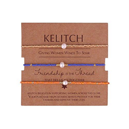 - KELITCH 3 Pcs Shell Pearl Seed Beads Friendship Bracelets Handmade Adjustable String Bracelet #E