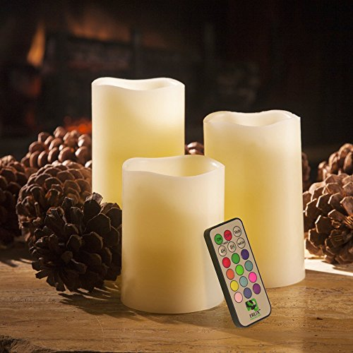 Megadream 3 Pieces Set Flameless Flickering LED Real Wax Decoration Festival Candle 12 Changing Colors Lights with Remote Control & Timer - Candle Size 4'' 5'' (Store Decorations)
