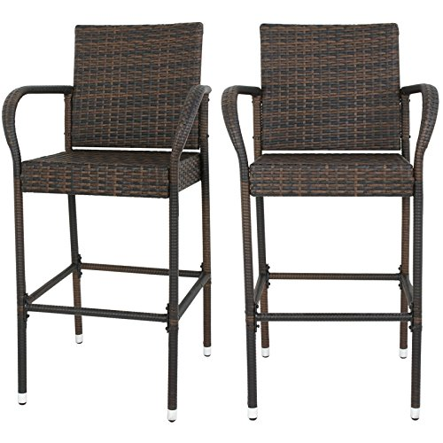 F2C Pack of 2 Brown Wicker Barstool All Weather Dining Chairs Outdoor Patio Furniture Bar Stools (Back Rattan Bar Stools High)