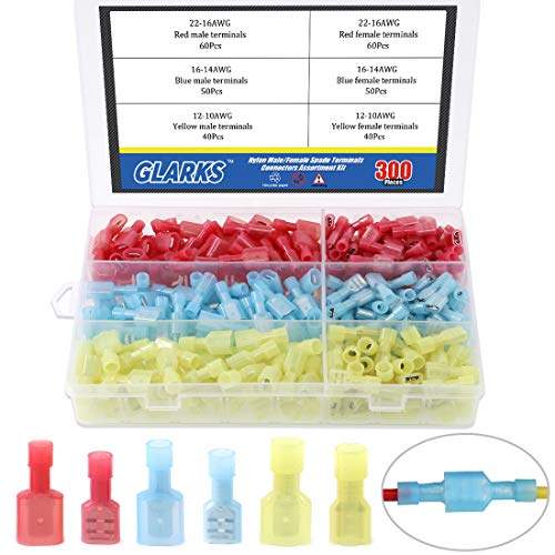 Glarks 300pcs 22-16 16-14 12-10 Gauge Nylon Fully Insulated Male/Female Spade Quick Splice Wire Disconnect Electrical Insulated Crimp Terminals Connectors Assortment Kit