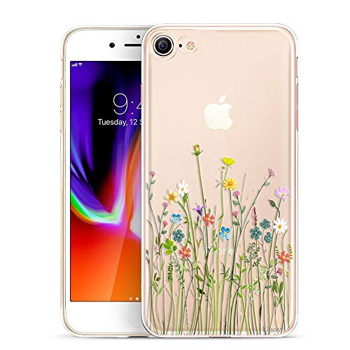 Unov Case for iPhone SE (2020) iPhone 8 iPhone 7 Clear with Design Embossed Floral Pattern TPU Soft Bumper Shock…