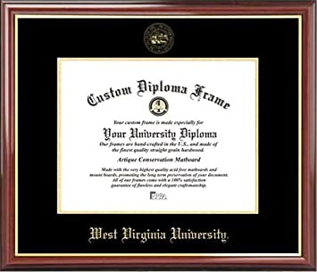 west virginia university mountaineers embossed seal mahogany gold trim diploma frame - Wvu Diploma Frame