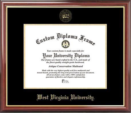 (Laminated Visuals West Virginia University Mountaineers - Embossed Seal - Mahogany Gold Trim - Diploma Frame)