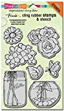 Stampendous Rubber Fran's Cling Stamp and Stencil Set 7-inch x 5-inch Sheet-Build A Bouquet Set by Stampendous