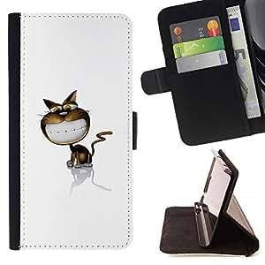 For Huawei Ascend P8 Lite (Not for Normal P8) Case , Funny Cat linda sonrisa- la tarjeta de Crédito Slots PU Funda de cuero Monedero caso cubierta de piel