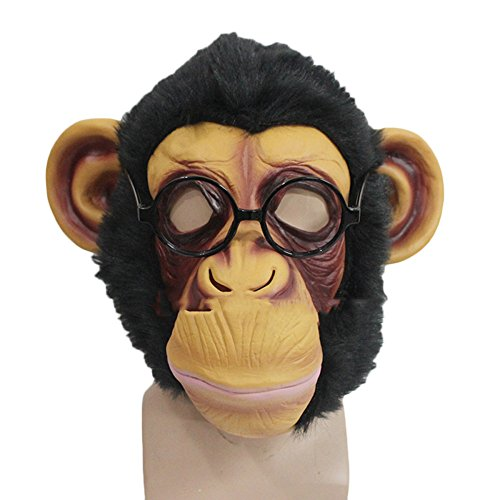 nihiug Masque Singe Masque Orang-outan Masque Chapeau Singe Roi Coiffures Cos Halloween Masque Animal Drôle,Black-OneSize