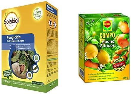 Solabiol Fungicida/bactericida de Cobre 100% orgánico (50% Oxicloruro de Cobre) + Compo 750 g Abono para cítricos, Efecto de Larga duración de 4 semanas, Negro