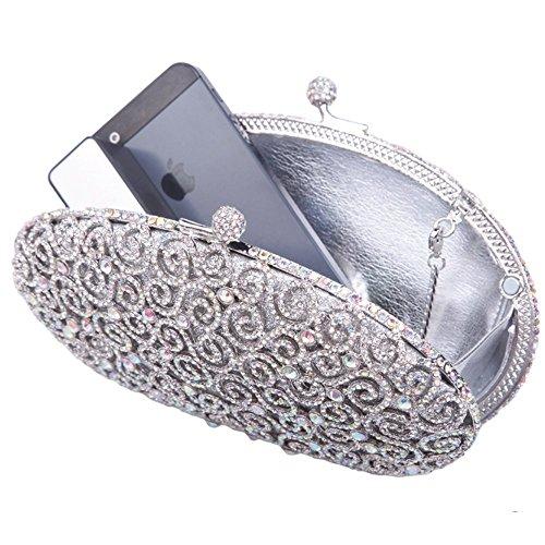 Damen Clutch Abendtasche Handtasche Geldbörse Glitzertasche Strass Kristall S Form Tasche mit wechselbare Trageketten von Santimon(4 Kolorit) Silber