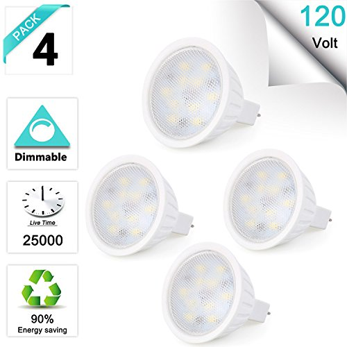 GU5.3 Base Bulb, Dimmable 120V 5W MR16 LED Bulbs, 50W Halogen Equivalent, CRl85 Brighter, Warm White(3000K) Reflector Floodlight, 500LM 120 Deg Landscape Track lighting 4 Pack Blue Reflector Floodlight