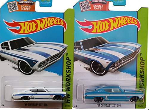 1969 Chevy Chevelle SS 396 Exclusive Blue Version Hot Wheels Workshop Muscle Mania 2 car Variant Set #231 - 2015 In Protective Cases