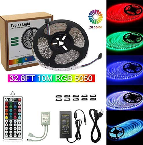 - Topled Light 32.8Foot 10Meter Led Light Strip 600LEDs RGB SMD 5050 Multi Color Flexible Rope Light Non-waterproof LED Tape Light with 44key Remote for Kitchen, Cabinet, Display, Bedroom and More