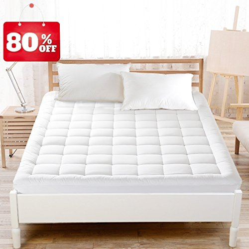 Maevis Mattress Pad Cover 100% 300TC Cotton with 8-21 Inch Deep Pocket White Overfilled Bed Mattress Topper (Down Alternative, Full)