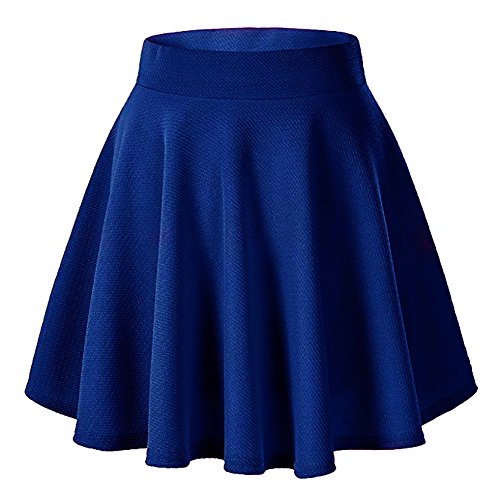 Blue Skirt - Moxeay Women's Basic A Line Pleated Circle Stretchy Flared Skater Skirt (Large, Blue)