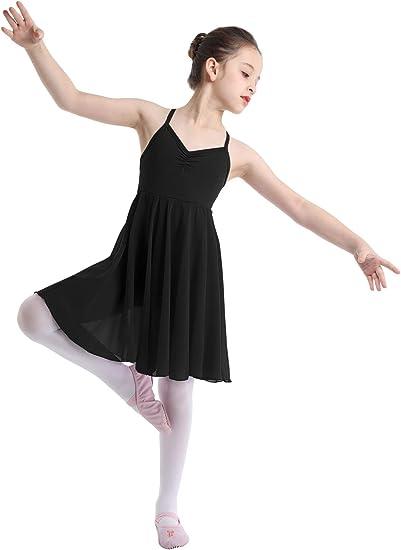 ranrann Kids Girls Lyrical Modern Dance Dress Sleeveless Shiny Sequins Criss-Cross Back Camisole Ballet Dancing Costume