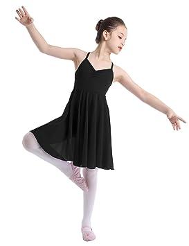 702b43434813 TiaoBug Girls Kids Ballet Dance Dress Leotard Gymnasitcs Tutu Skirt  Ballerina Outfit Lyrical Dancewear Costume Black