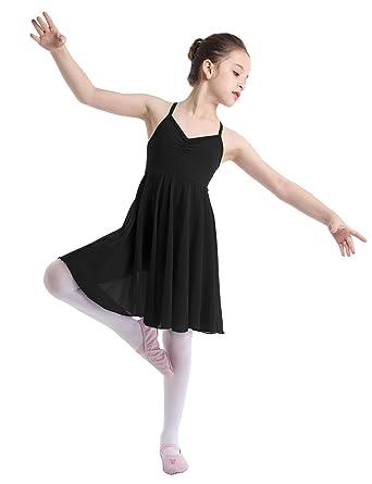 c980adecbb18 YOOJIA Kids Girls Ballet Dance Dress Shoulder Straps Criss-Cross Back  Chiffon Skirt Lyrical Gymnastic