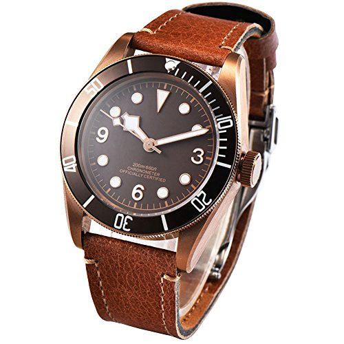 41mm Bronze PVD Case Sterile Coffee Dial Sapphire Glass Men