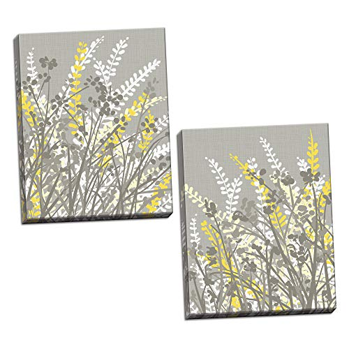 (Gango Home Décor 2 Gray-Taupe, White and Yellow Floral Meadow Print Set; Two 11x14in)